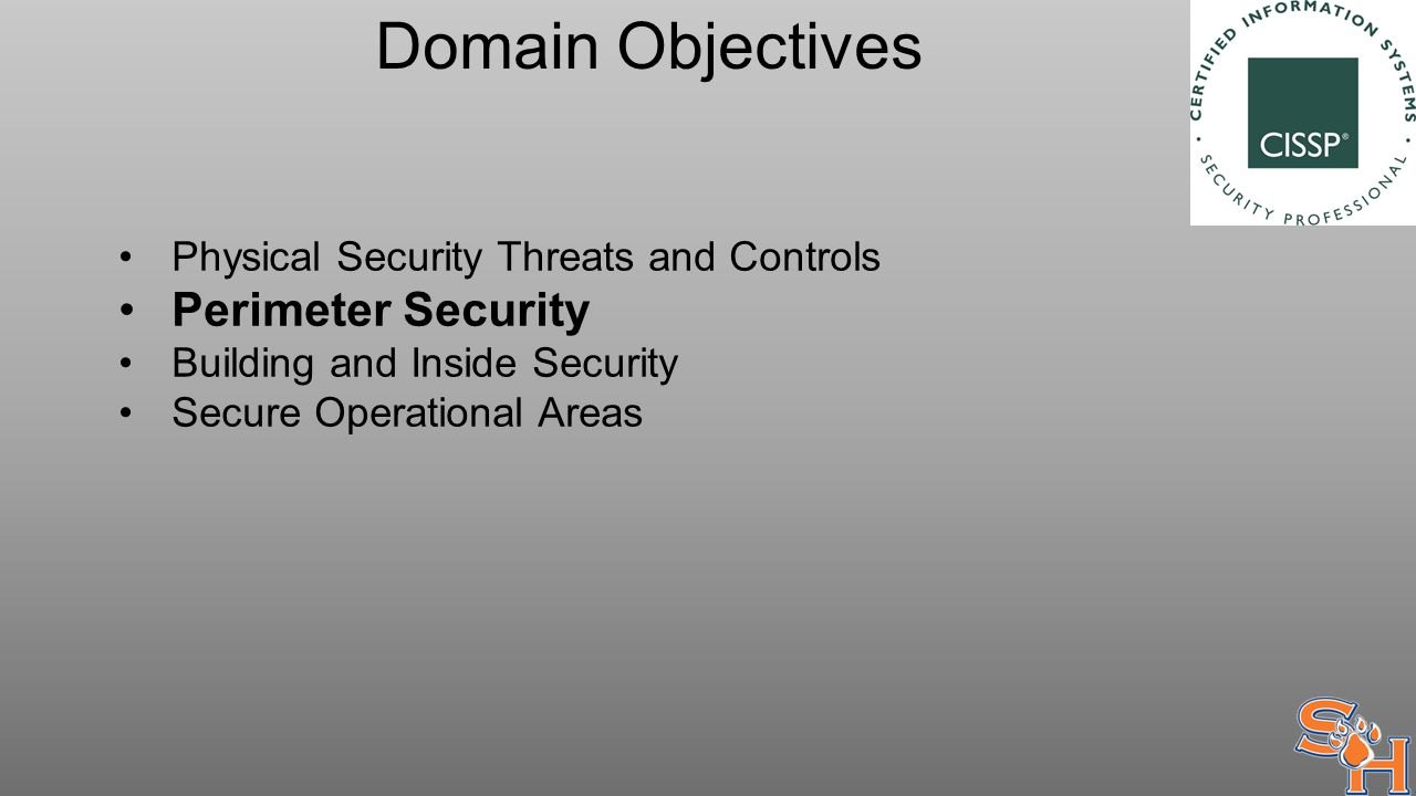 Domain Objectives Physical Security Threats and Controls Perimeter Security Building and Inside Security Secure Operational Areas