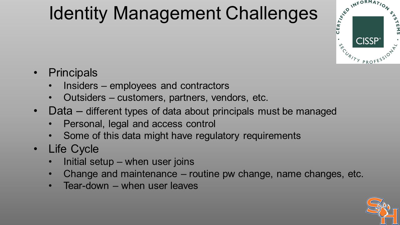 Identity Management Challenges Principals Insiders – employees and contractors Outsiders – customers, partners, vendors, etc.