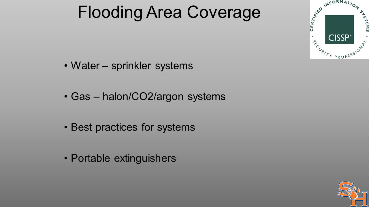 Flooding Area Coverage Water – sprinkler systems Gas – halon/CO2/argon systems Best practices for systems Portable extinguishers
