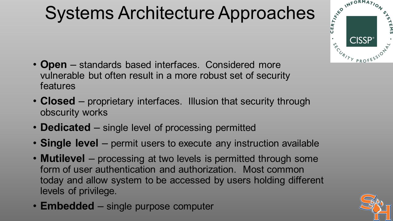 Systems Architecture Approaches Open – standards based interfaces.
