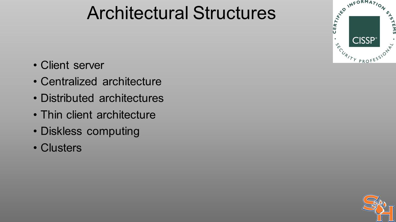 Architectural Structures Client server Centralized architecture Distributed architectures Thin client architecture Diskless computing Clusters
