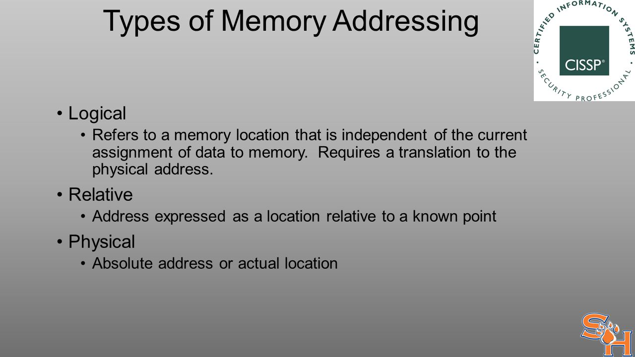 Types of Memory Addressing Logical Refers to a memory location that is independent of the current assignment of data to memory.