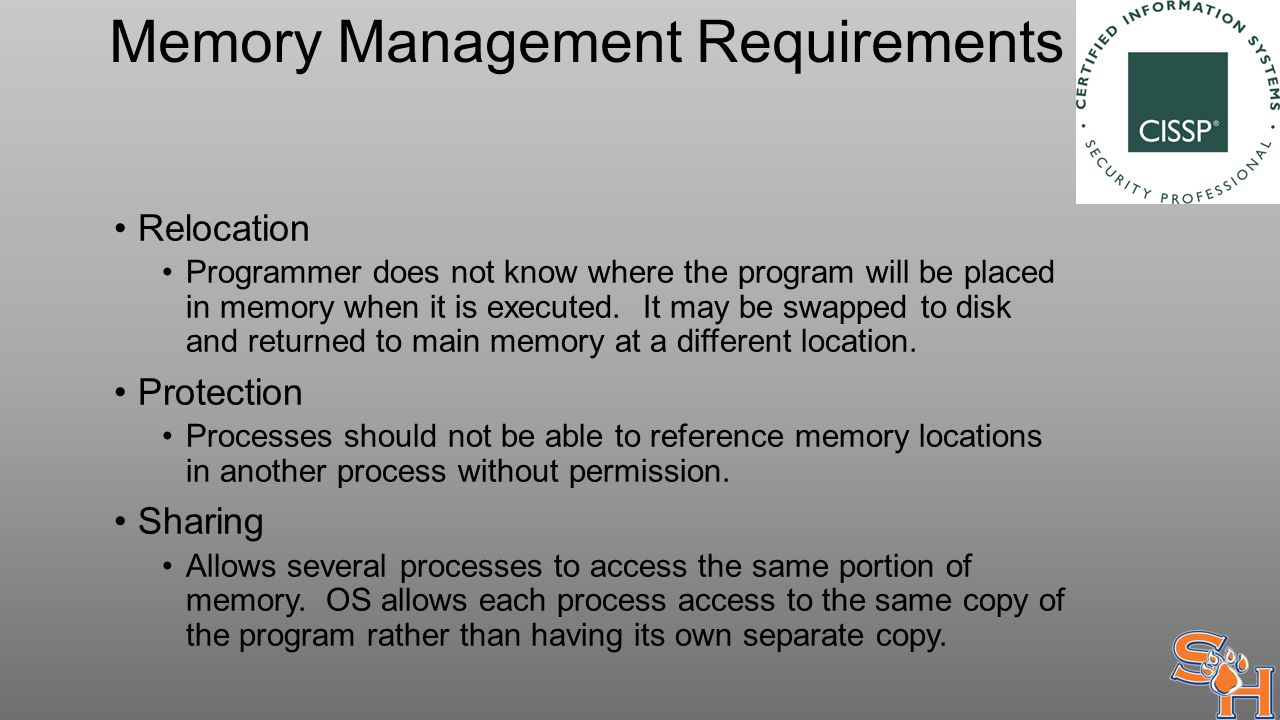 Memory Management Requirements Relocation Programmer does not know where the program will be placed in memory when it is executed.