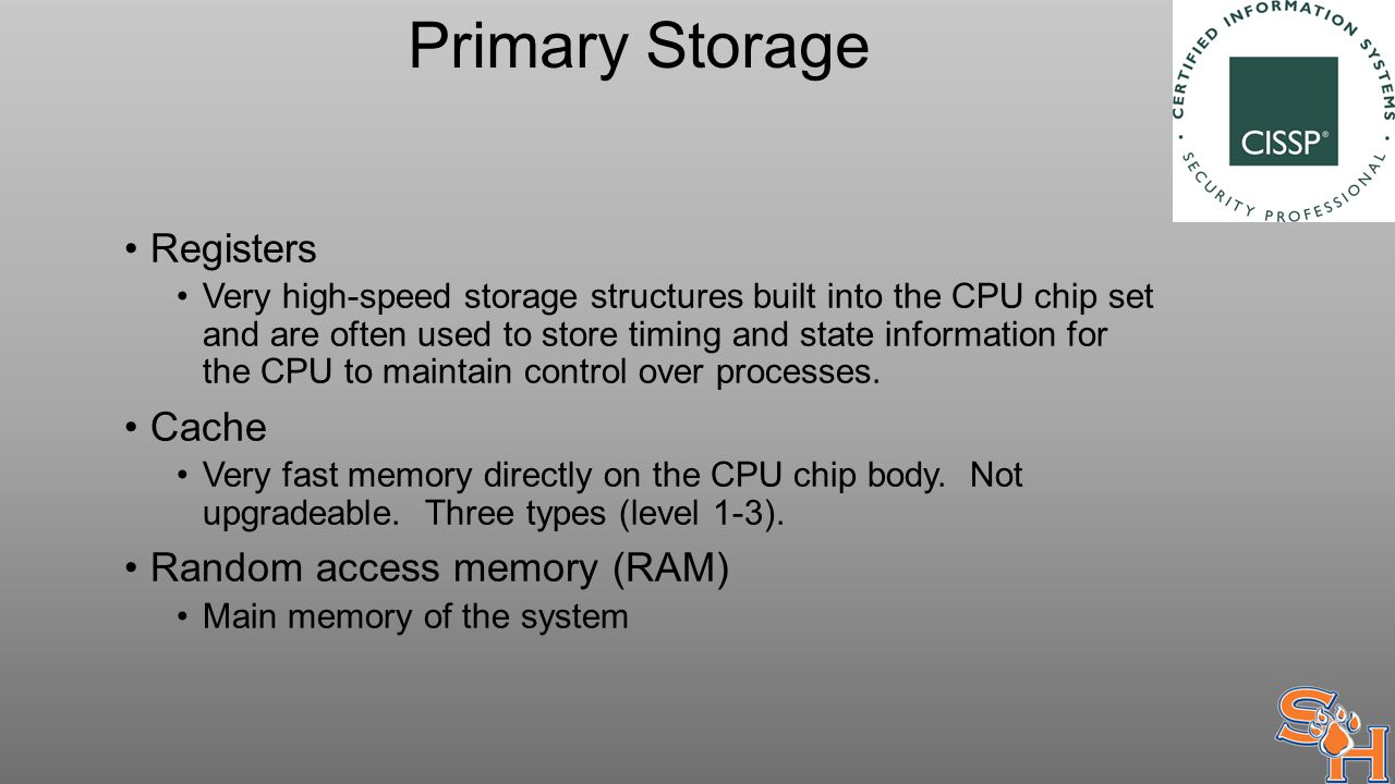 Primary Storage Registers Very high-speed storage structures built into the CPU chip set and are often used to store timing and state information for the CPU to maintain control over processes.