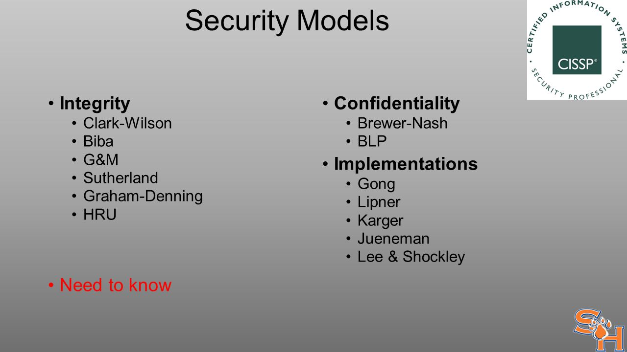 Security Models Integrity Clark-Wilson Biba G&M Sutherland Graham-Denning HRU Need to know Confidentiality Brewer-Nash BLP Implementations Gong Lipner Karger Jueneman Lee & Shockley