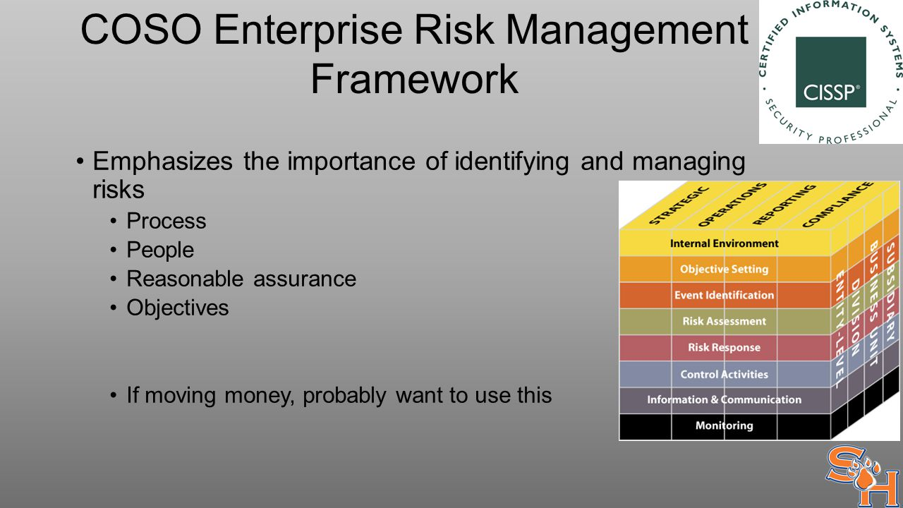 COSO Enterprise Risk Management Framework Emphasizes the importance of identifying and managing risks Process People Reasonable assurance Objectives If moving money, probably want to use this