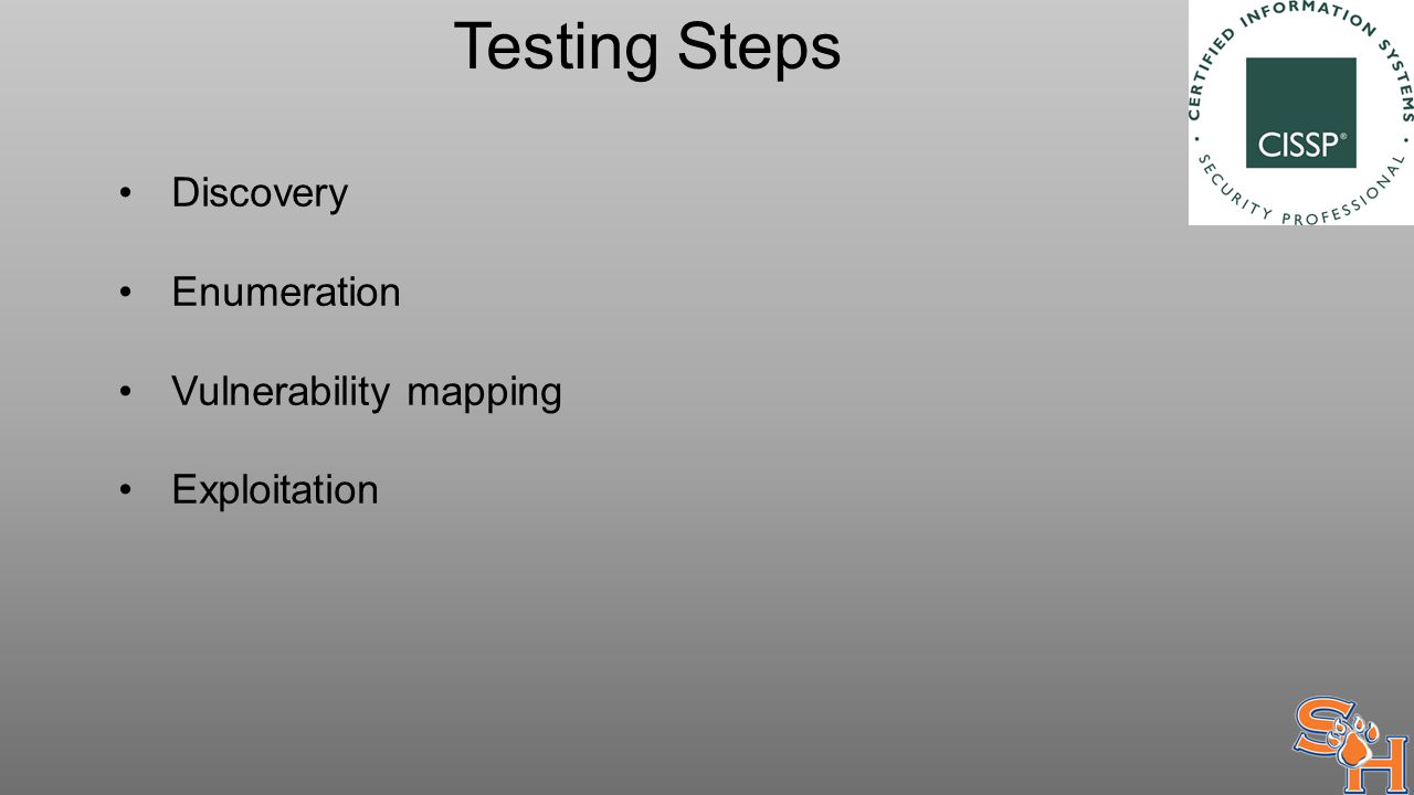 Testing Steps Discovery Enumeration Vulnerability mapping Exploitation