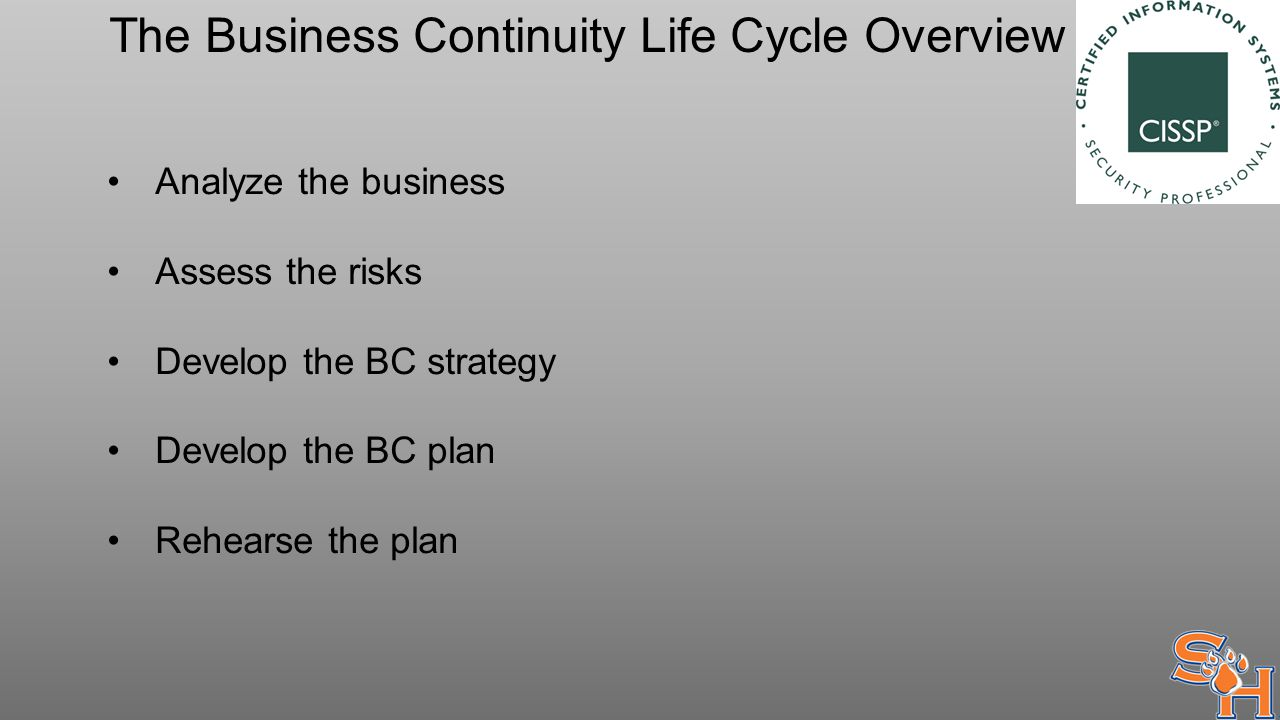 The Business Continuity Life Cycle Overview Analyze the business Assess the risks Develop the BC strategy Develop the BC plan Rehearse the plan
