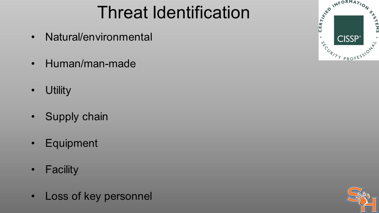 Threat Identification Natural/environmental Human/man-made Utility Supply chain Equipment Facility Loss of key personnel