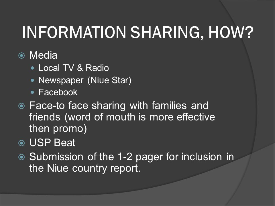 INFORMATION SHARING, HOW.