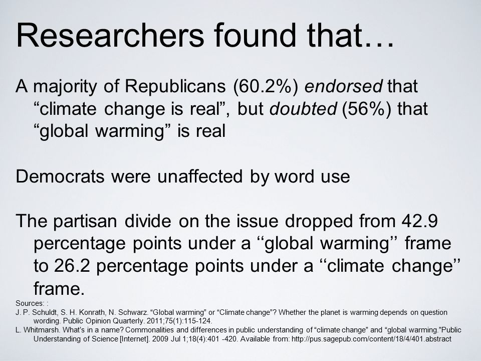 "Researchers found that… A majority of Republicans (60.2%) endorsed that ""climate change is real"", but doubted (56%) that ""global warming"" is real Demo"
