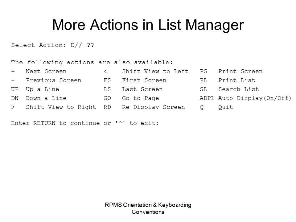 More Actions in List Manager Select Action: D// .