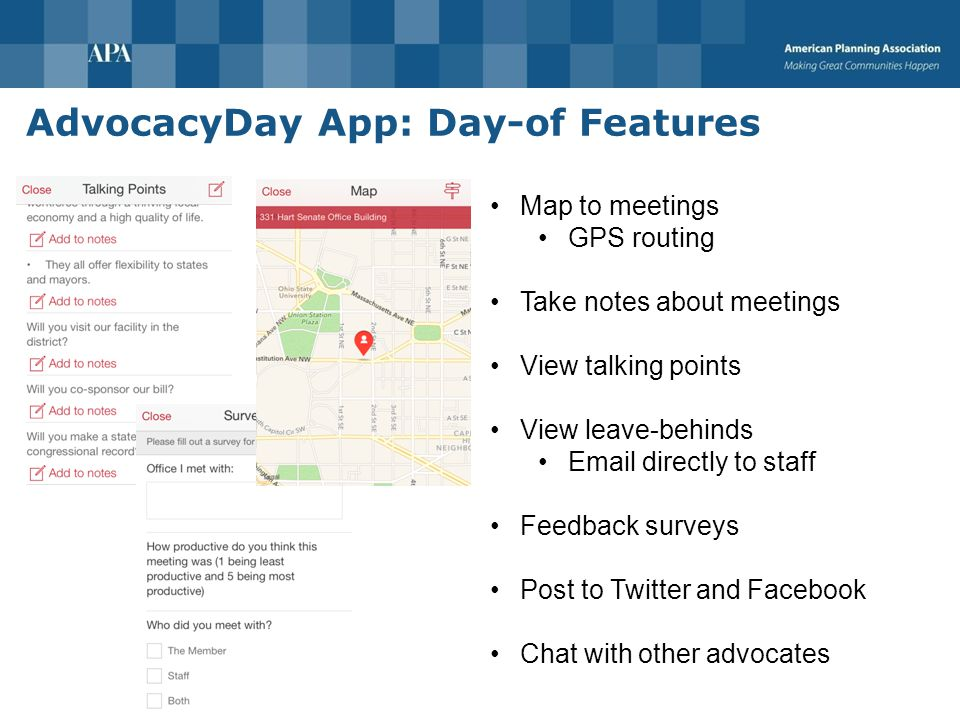 AdvocacyDay App: Preparation Features Research your legislators Bio Committee info Social media Website News Research your bills Summary Status Cosponsorship Votes You will receive your app login tomorrow so you can research your Members of Congress and bills in advance