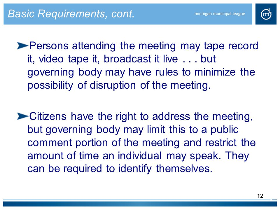 12 Basic Requirements, cont.