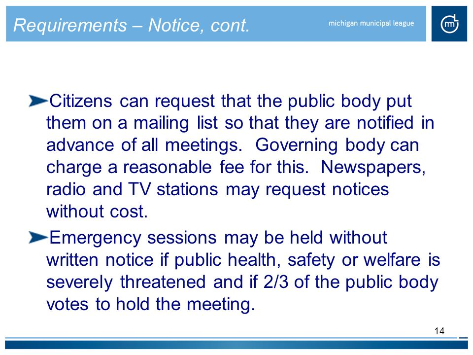14 Requirements – Notice, cont.