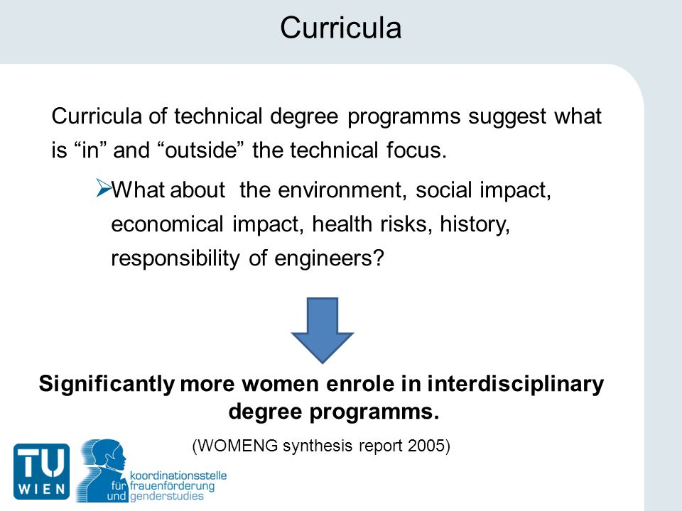 Curricula Curricula of technical degree programms suggest what is in and outside the technical focus.