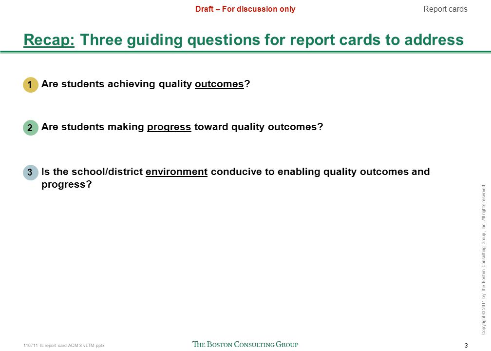 110711 IL report card ACM 3 vLTM.pptx 3 Draft – For discussion only Copyright © 2011 by The Boston Consulting Group, Inc.