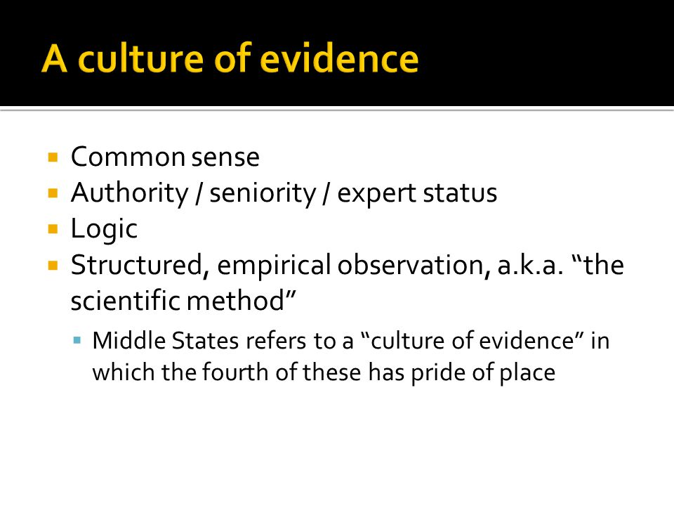  Common sense  Authority / seniority / expert status  Logic  Structured, empirical observation, a.k.a.