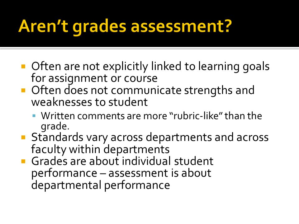  Often are not explicitly linked to learning goals for assignment or course  Often does not communicate strengths and weaknesses to student  Written comments are more rubric-like than the grade.