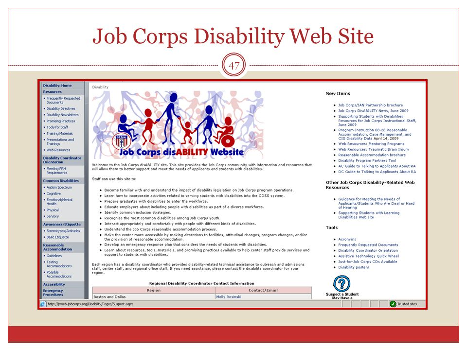 47 Job Corps Disability Web Site