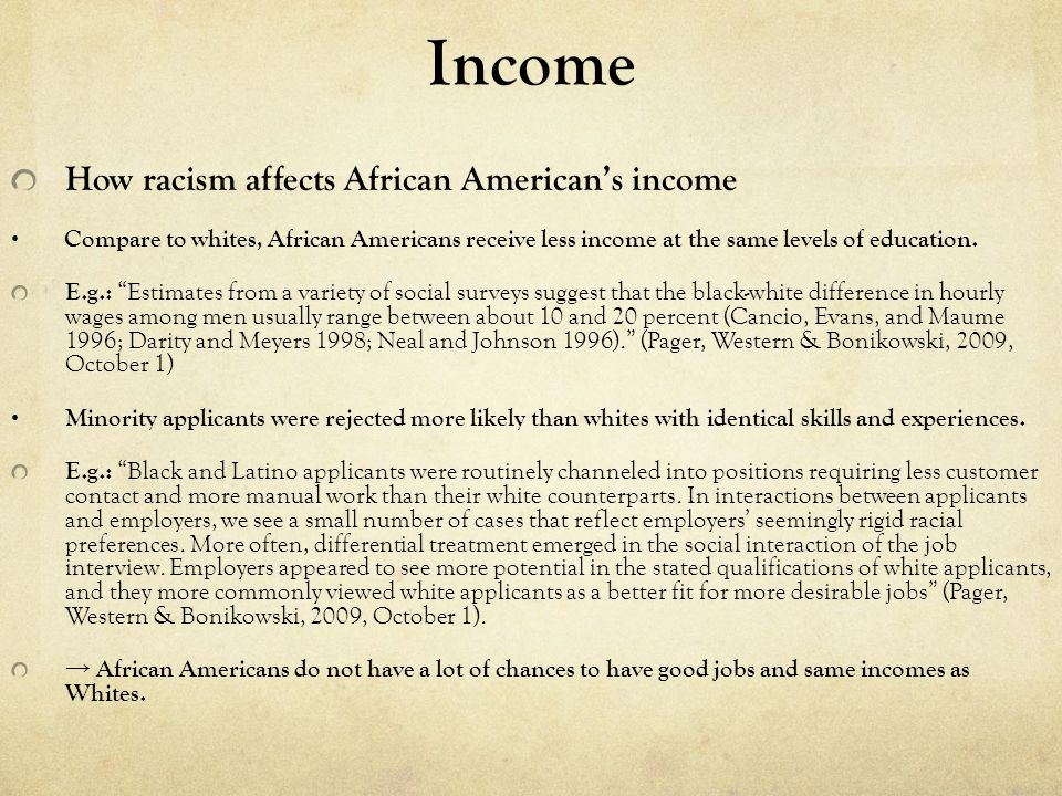 How income affects health status in the U.S., especially for African American People with incomes below the poverty line were nearly twice as likely to have had an asthma attack in the previous year as people with incomes at least twice the poverty line.