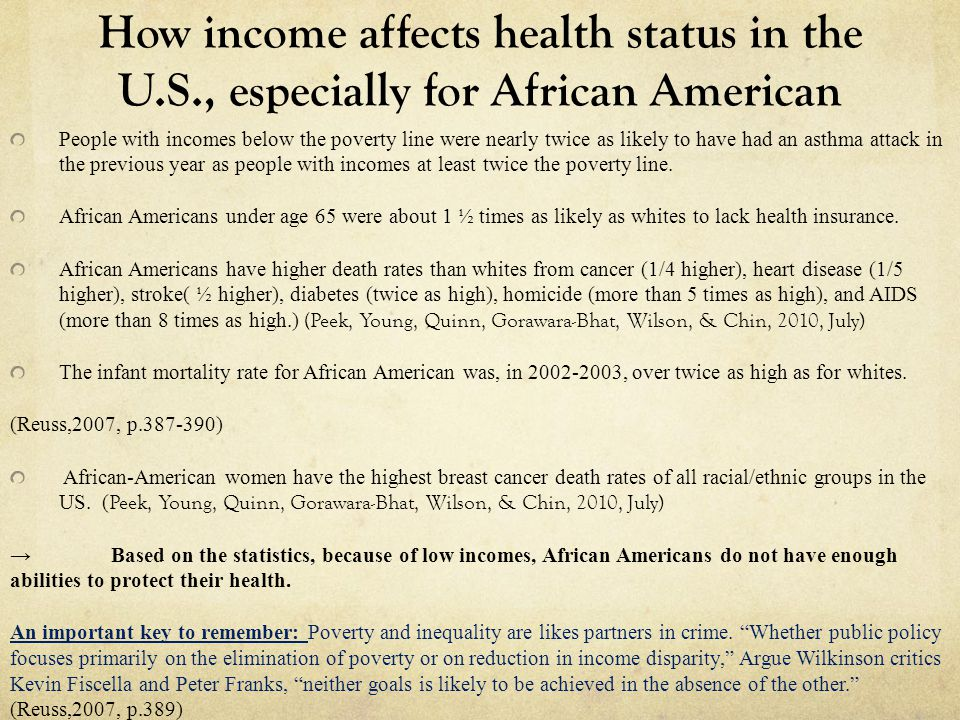 How income affects health status in the U.S., especially for African American People with incomes below the poverty line were nearly twice as likely t