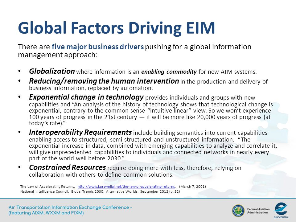 Global Factors Driving EIM There are five major business drivers pushing for a global information management approach: Globalization where information is an enabling commodity for new ATM systems.