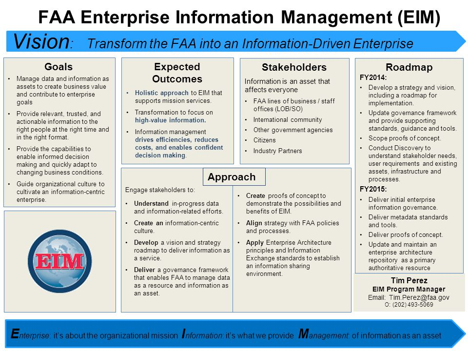 FAA Enterprise Information Management (EIM) Goals Manage data and information as assets to create business value and contribute to enterprise goals Provide relevant, trusted, and actionable information to the right people at the right time and in the right format.