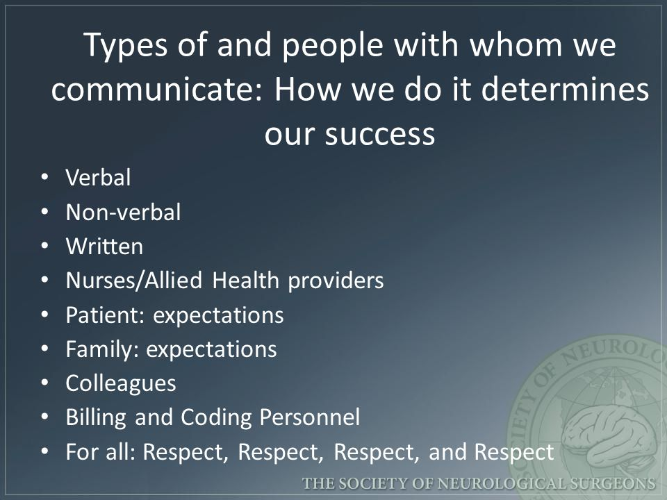 Types of and people with whom we communicate: How we do it determines our success Verbal Non-verbal Written Nurses/Allied Health providers Patient: expectations Family: expectations Colleagues Billing and Coding Personnel For all: Respect, Respect, Respect, and Respect