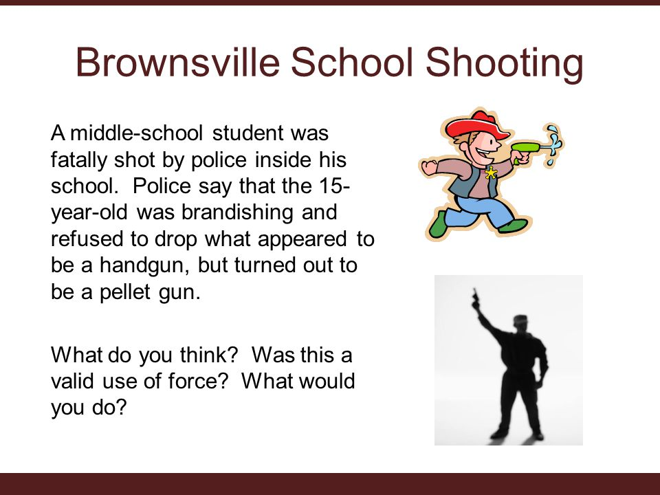 Brownsville School Shooting A middle-school student was fatally shot by police inside his school.