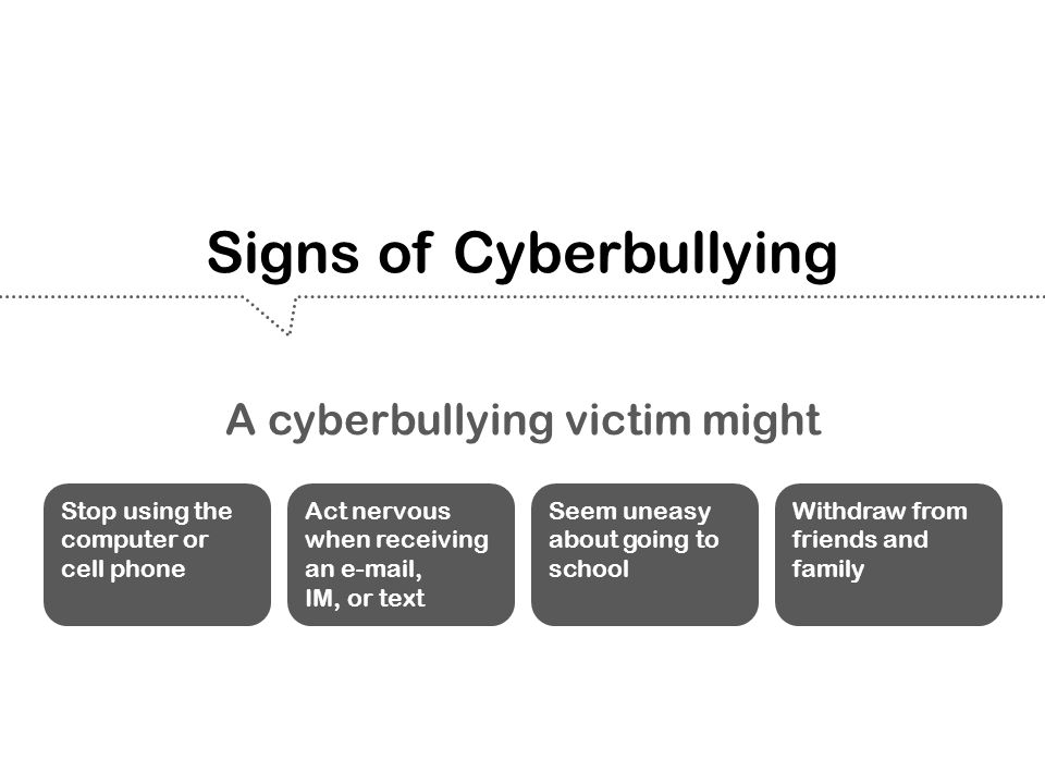 Signs of Cyberbullying Act nervous when receiving an e-mail, IM, or text Seem uneasy about going to school Withdraw from friends and family Stop using