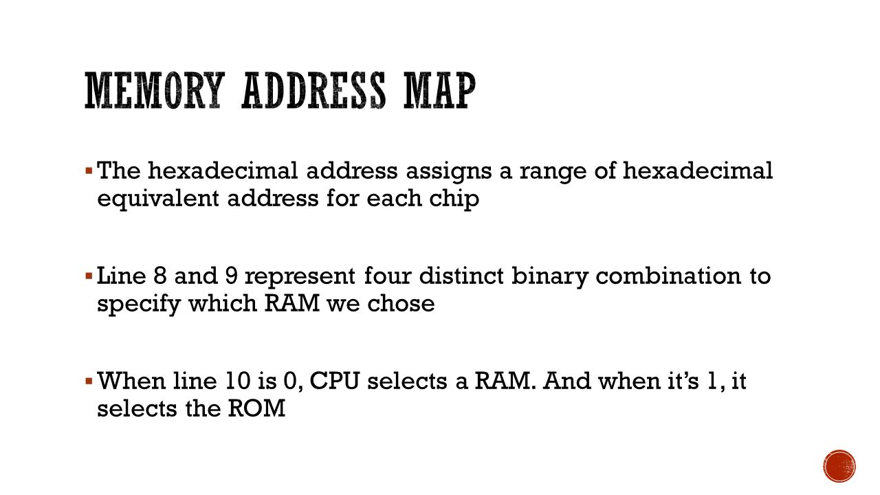  The hexadecimal address assigns a range of hexadecimal equivalent address for each chip  Line 8 and 9 represent four distinct binary combination to