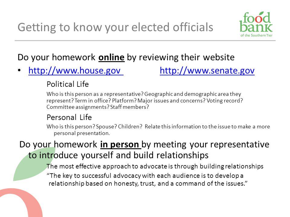 Do your homework online by reviewing their website http://www.house.gov http://www.senate.gov http://www.house.gov http://www.senate.gov Political Lif