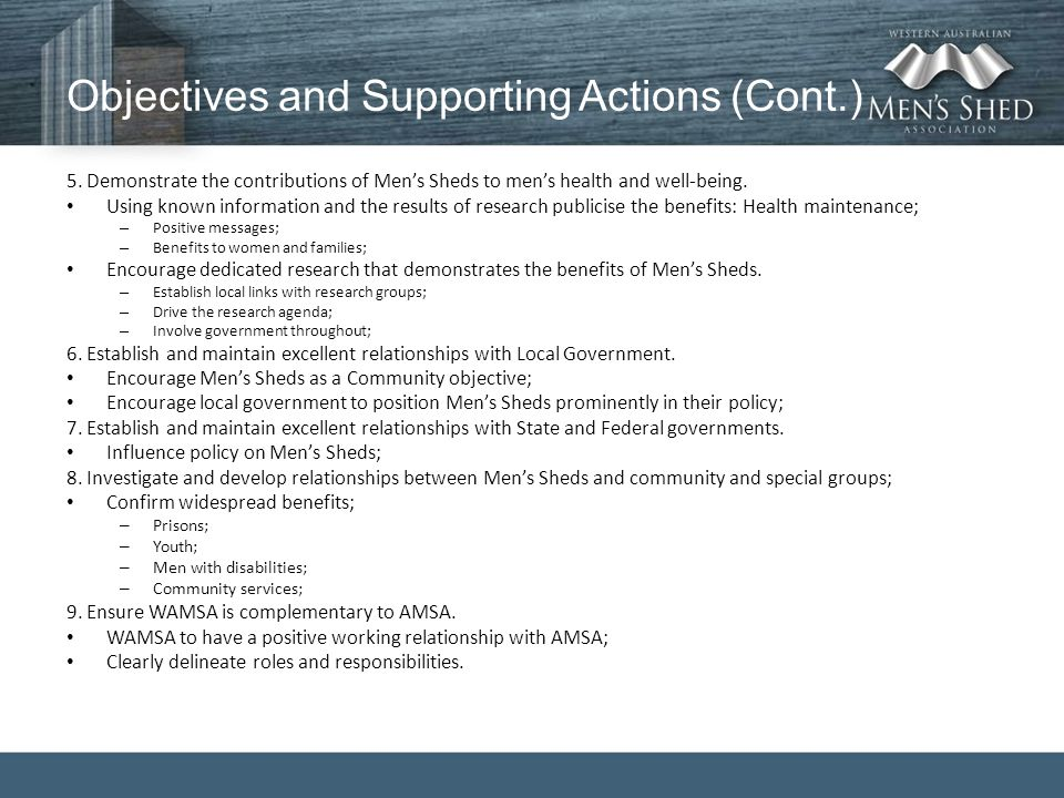 Objectives and Supporting Actions (Cont.) 5.