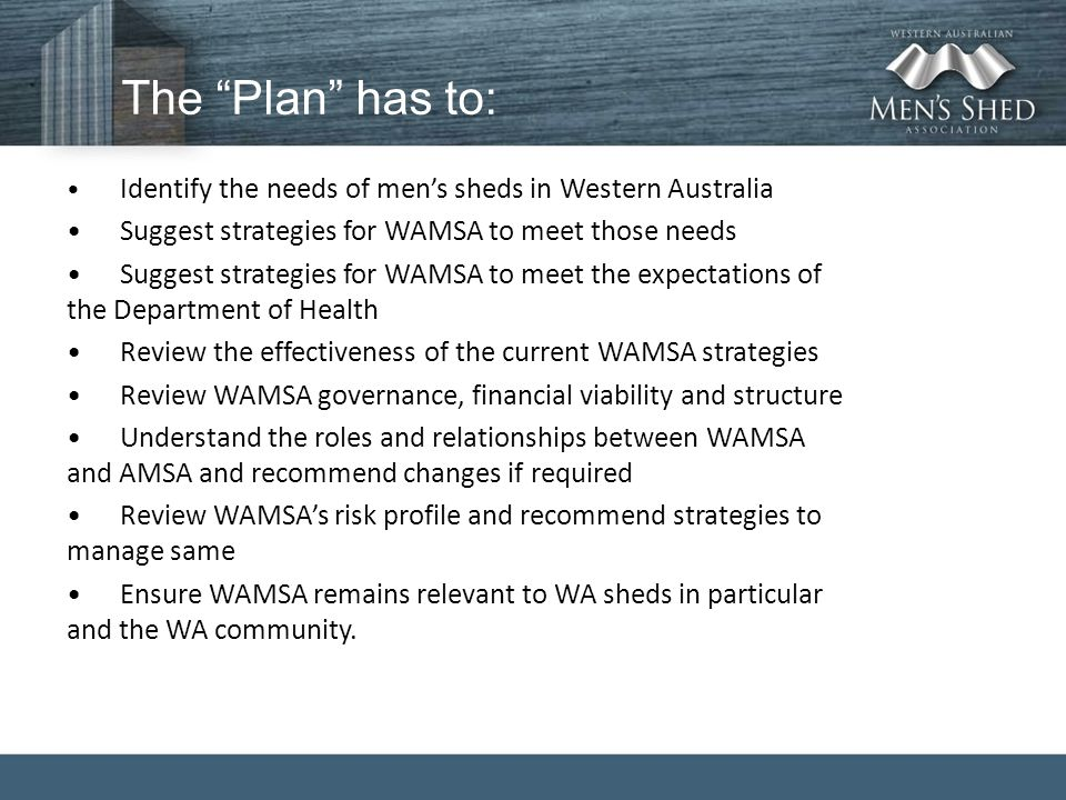 "The ""Plan"" has to: Identify the needs of men's sheds in Western Australia Suggest strategies for WAMSA to meet those needs Suggest strategies for WAMS"