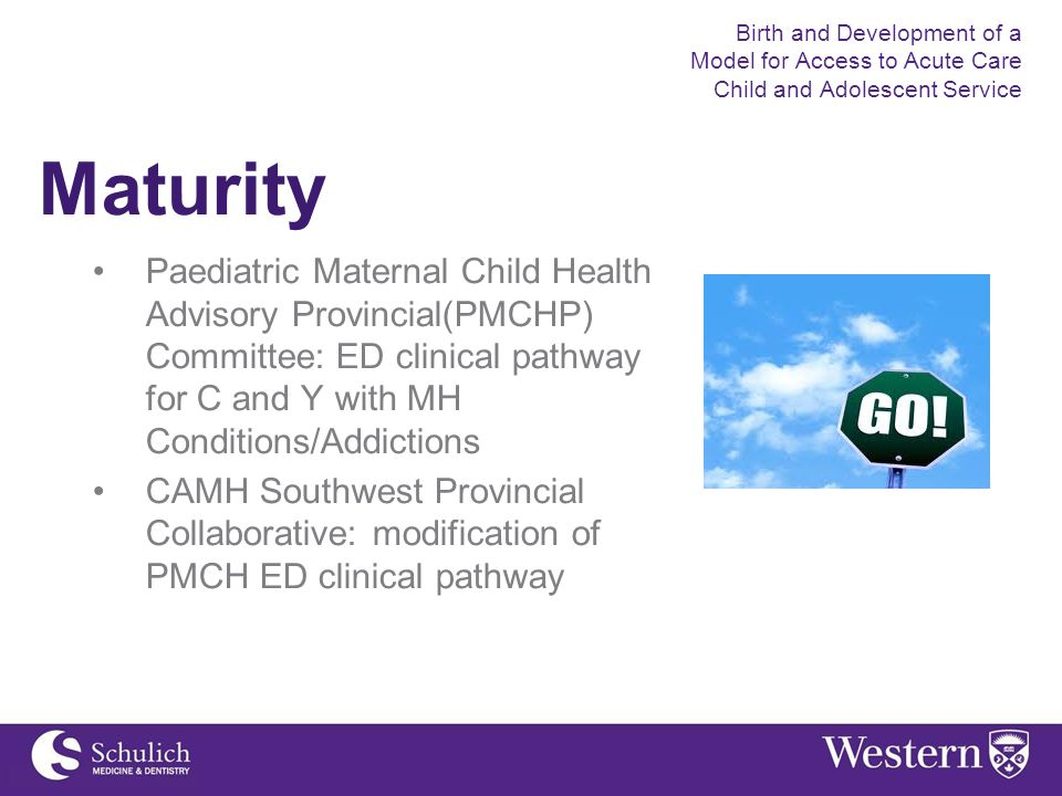 Maturity Paediatric Maternal Child Health Advisory Provincial(PMCHP) Committee: ED clinical pathway for C and Y with MH Conditions/Addictions CAMH Southwest Provincial Collaborative: modification of PMCH ED clinical pathway Birth and Development of a Model for Access to Acute Care Child and Adolescent Service