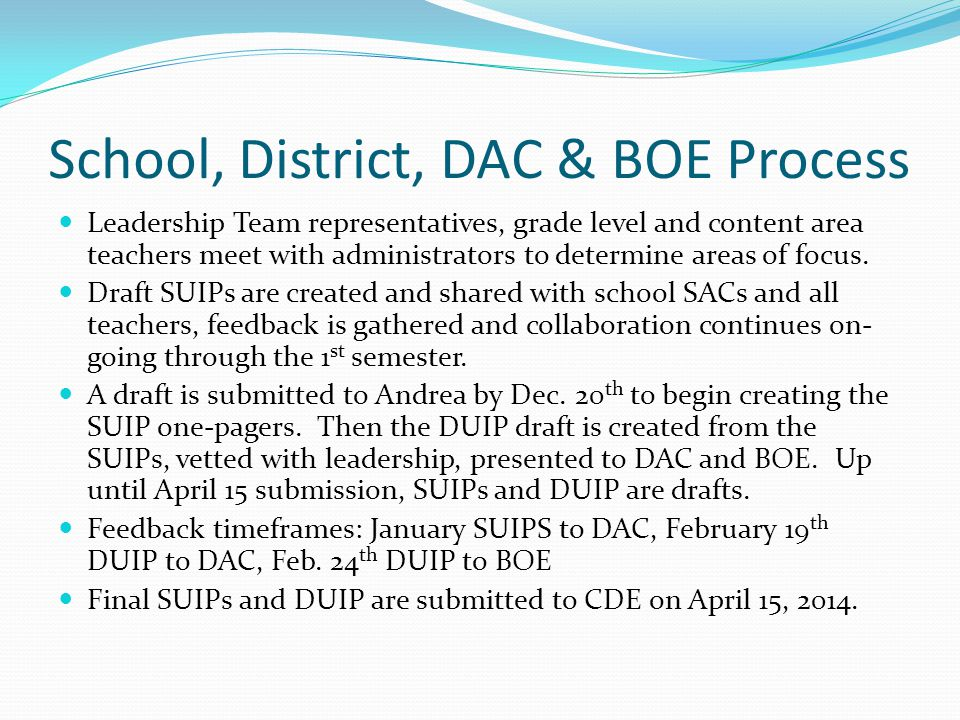 School, District, DAC & BOE Process Leadership Team representatives, grade level and content area teachers meet with administrators to determine areas of focus.