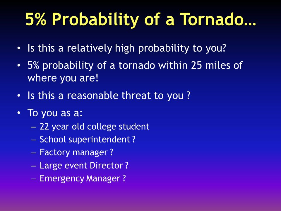 5% Probability of a Tornado… Is this a relatively high probability to you.