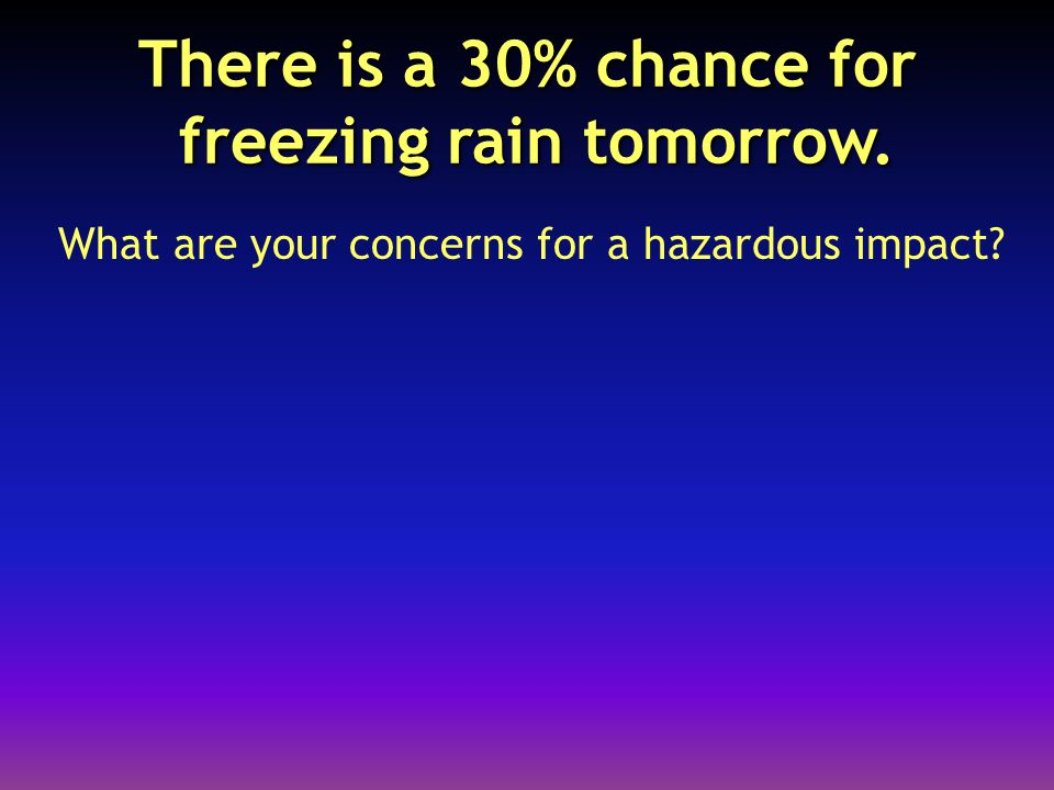 There is a 30% chance for freezing rain tomorrow. What are your concerns for a hazardous impact