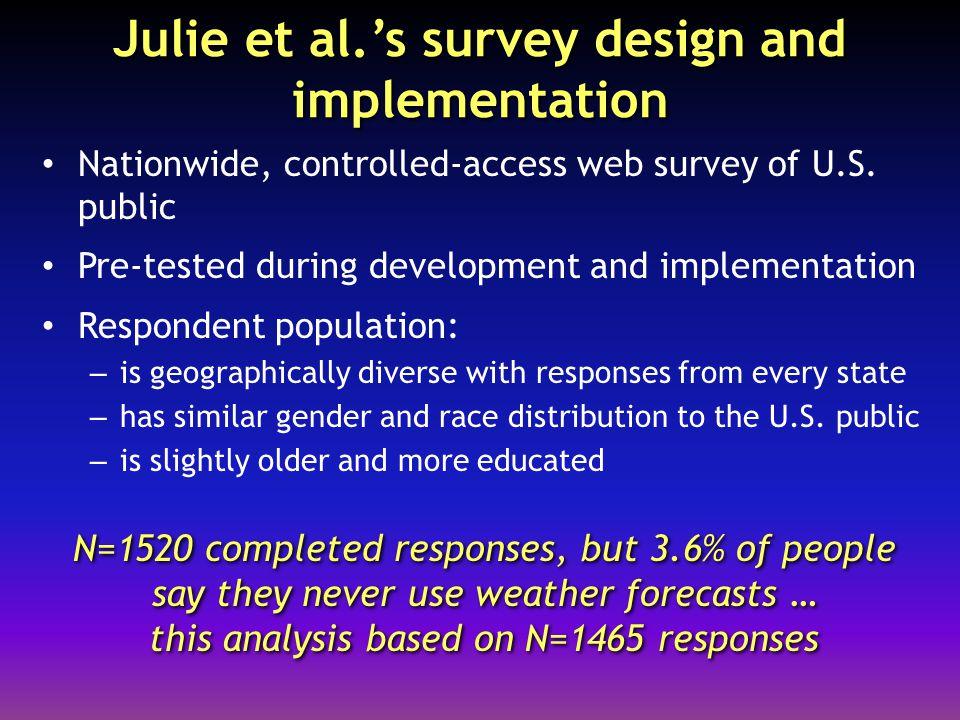 Julie et al.'s survey design and implementation Nationwide, controlled-access web survey of U.S.