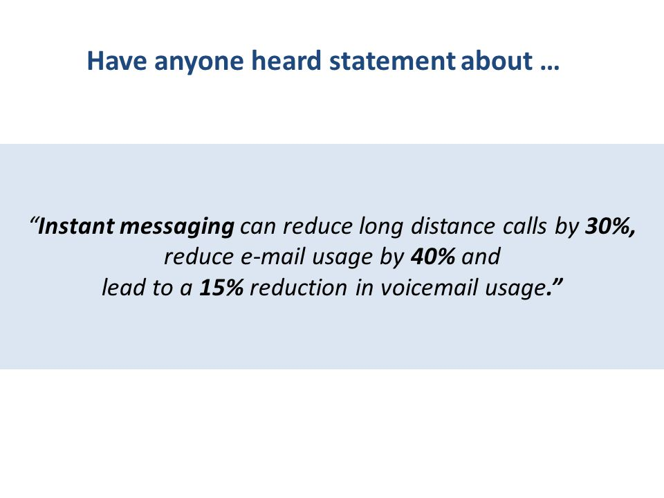 Instant messaging can reduce long distance calls by 30%, reduce e-mail usage by 40% and lead to a 15% reduction in voicemail usage. Have anyone heard statement about …
