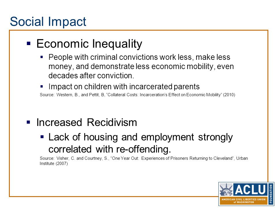 Social Impact  Economic Inequality  People with criminal convictions work less, make less money, and demonstrate less economic mobility, even decades after conviction.