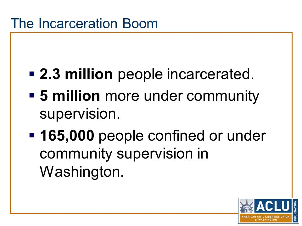 The Incarceration Boom  2.3 million people incarcerated.