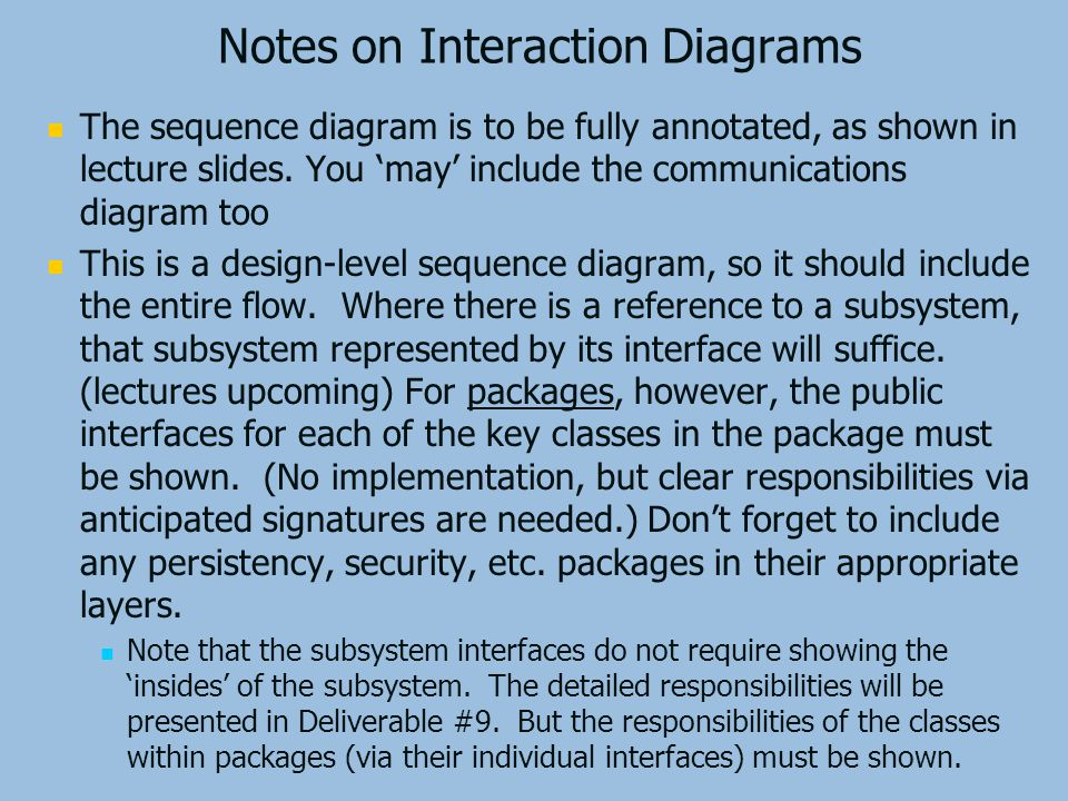 Notes on Interaction Diagrams The sequence diagram is to be fully annotated, as shown in lecture slides.