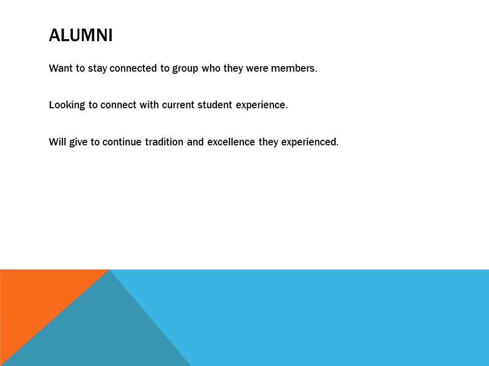 ALUMNI Want to stay connected to group who they were members.