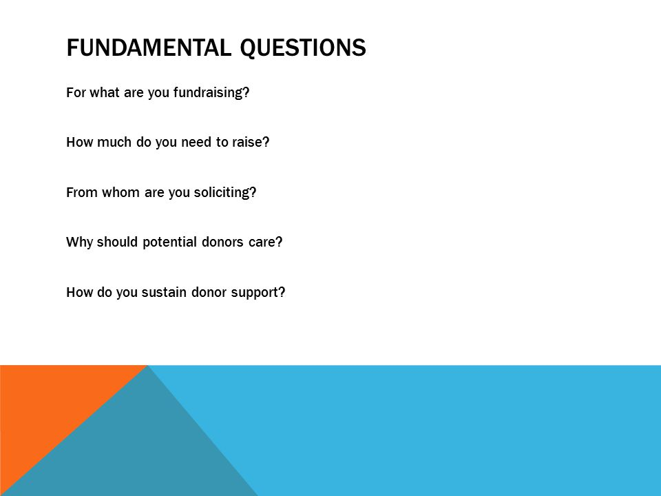 FUNDAMENTAL QUESTIONS For what are you fundraising.