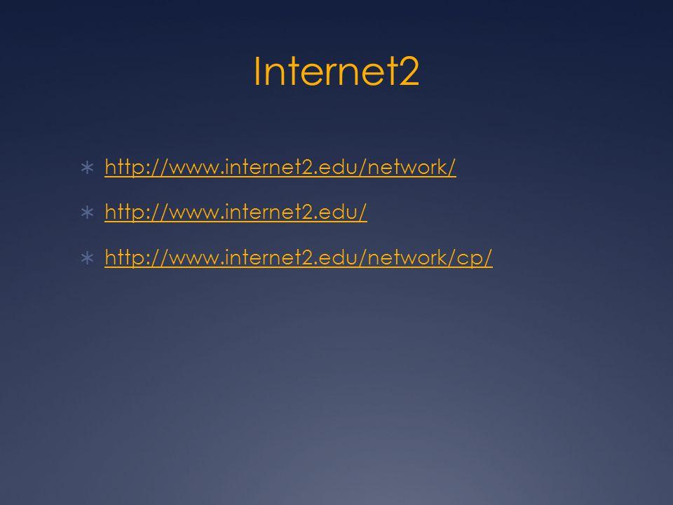 Internet2  http://www.internet2.edu/network/ http://www.internet2.edu/network/  http://www.internet2.edu/ http://www.internet2.edu/  http://www.internet2.edu/network/cp/ http://www.internet2.edu/network/cp/