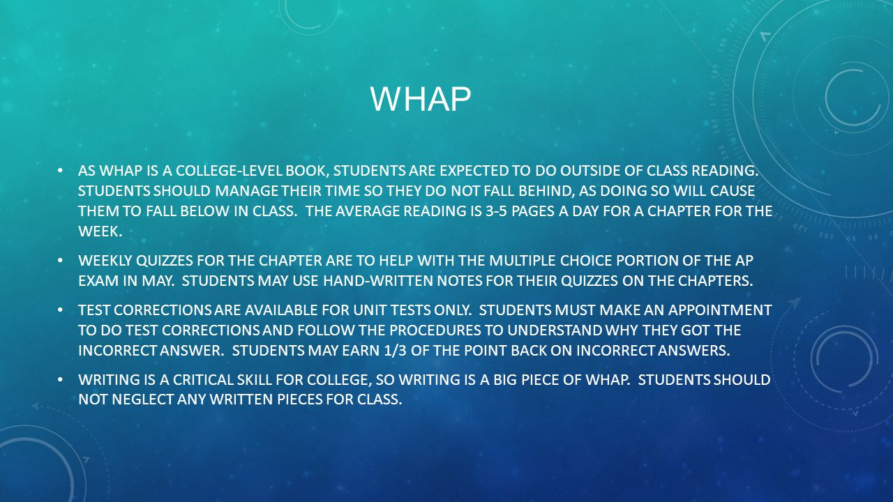WHAP AS WHAP IS A COLLEGE-LEVEL BOOK, STUDENTS ARE EXPECTED TO DO OUTSIDE OF CLASS READING.