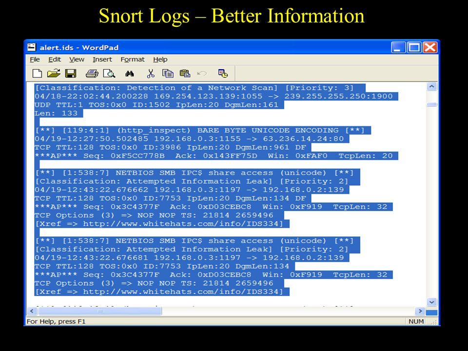 UTSA IS 3523 ID & Incident Response Observations of Snort - Good FREE.