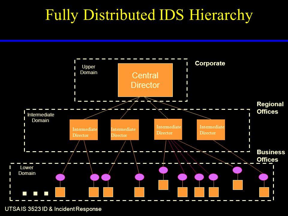 UTSA IS 3523 ID & Incident Response Fully Distributed IDS Hierarchy... Lower Domain Intermediate Domain Upper Domain Central Director Business Offices